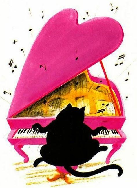 Nothing is better than a black cat playing a pink piano.  Art by Claude Henri Saunier