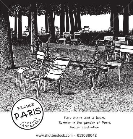 Park chairs and a bench under the trees in the garden of Paris, France. Vector illustration.  The result of auto-trace adapted for easy use.