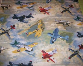 Vintage Airplane Baby Shower Theme | Wonderful Vintage Airplanes Cotto n Fabric by the yard Free US ...