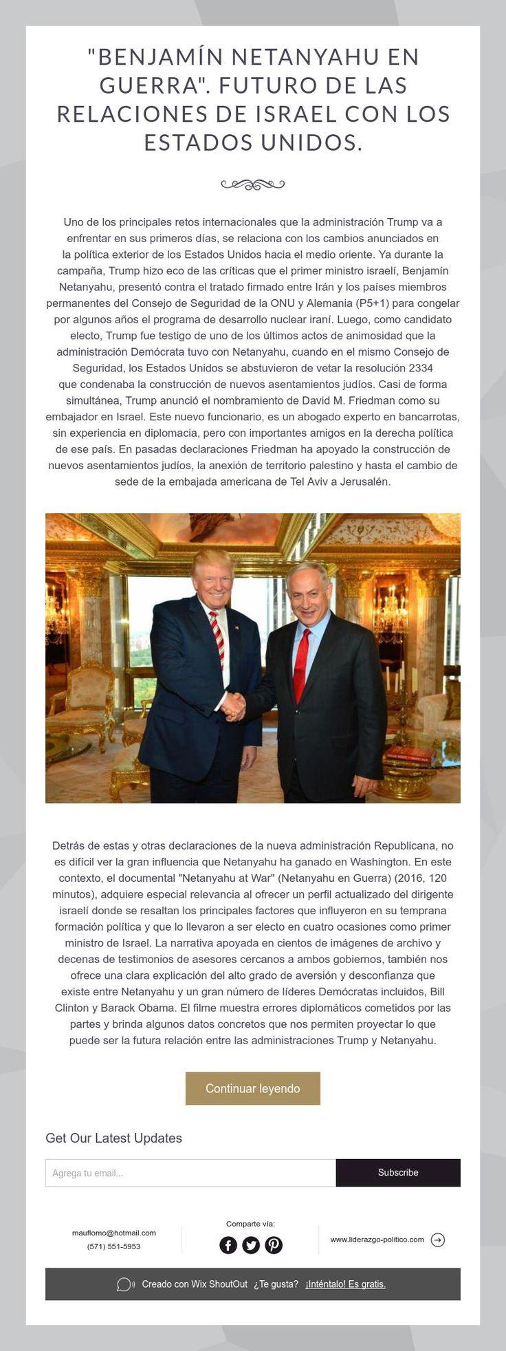 """""""Benjamín Netanyahu en Guerra"""". Futuro de las relaciones de Israel con los Estados Unidos."""