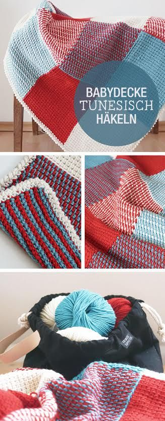 Häkelanleitung für eine Babydecke, Tunesisches häkeln / how to crochet a baby blanket tunisian style via DaWanda.com