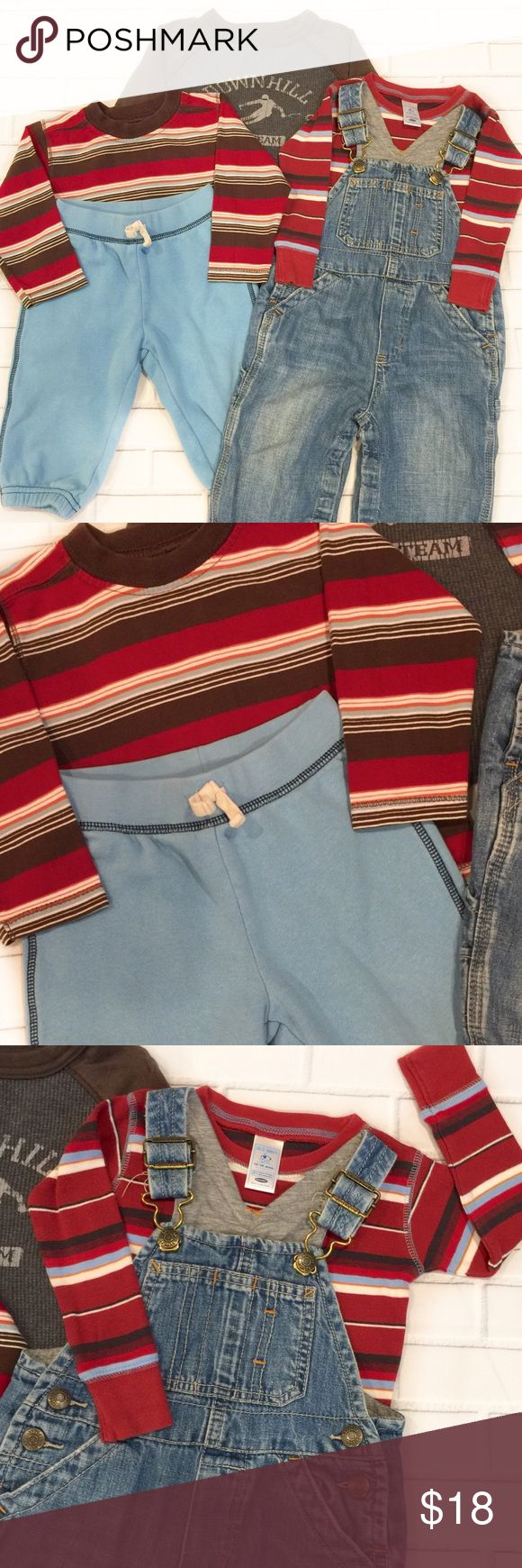 🌟30% Bundles🌟Boys 5pc Old Navy/Gap Bundle ▫️Brand: Gap/Old Navy ▫️Size: 12-18M ▫️Material: Cotton/Polyester  ▫️Flaws: NONE  ▫️Description:  1. Old Navy Red Brown Multicolored Striped Crew Neck T-shirt 2. Old Navy Down Hill Skiing Thermal Raglan T-shirt 3. Old Navy Maroon Multicolored Striped Crew Neck T-shirt 4. Gap Blue Joggers 5. Gap Lined Overalls  ▪️NO Trade/Hold ▪️Next Day Shipping ▪️Smoke Free/Kitty Friendly Home  ♦️Please ASK questions & READ descriptions before purchasing♦️ Gap/Old…
