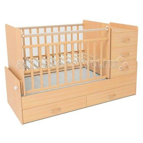 Кроватка-трансформер СКВ Компани СКВ-5 53403 маятник  Кроватка-трансформер СКВ Компани СКВ-5 53403 маятник это кровать-трансформер с поперечным маятниковым механизмом.   Подходит для детей с рождения до 10 лет кроватка с комодом трансформируется в подростковую кровать.  Особенности: маятниковый механизм поперечного качания 2 уровня ортопедического основания опускающаяся боковина механизм опускания: кнопка комод с 3 ящиками размер комода 40 х 60 см выдвижные ящики в нижней части кровати…