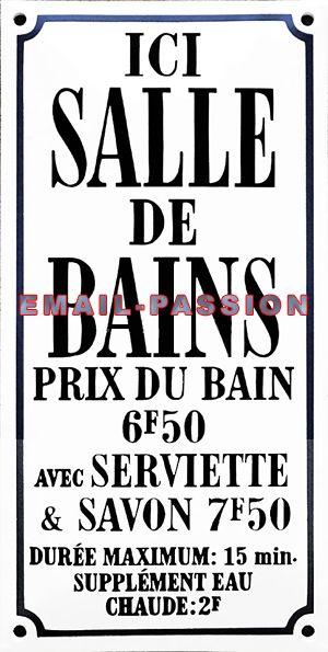 Plaque de service émaillée bombée faite au pochoir de16x32cm :  Ici salle de Bains...