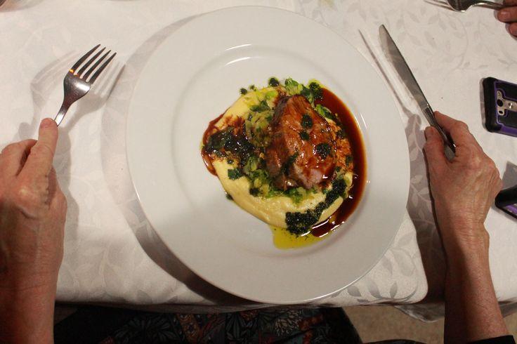 Roast Havac Pork, Parsnip Puree, sautéed Brussel Sprouts and Herb Oil
