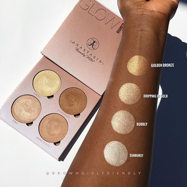 """@anastasiabeverlyhills @norvina """"That Glow"""" Glow Kit swatched on dark skin  swatches of the """"Sun Dipped"""" Glow Kit coming later today #BrownGirlFriendlySwatches"""