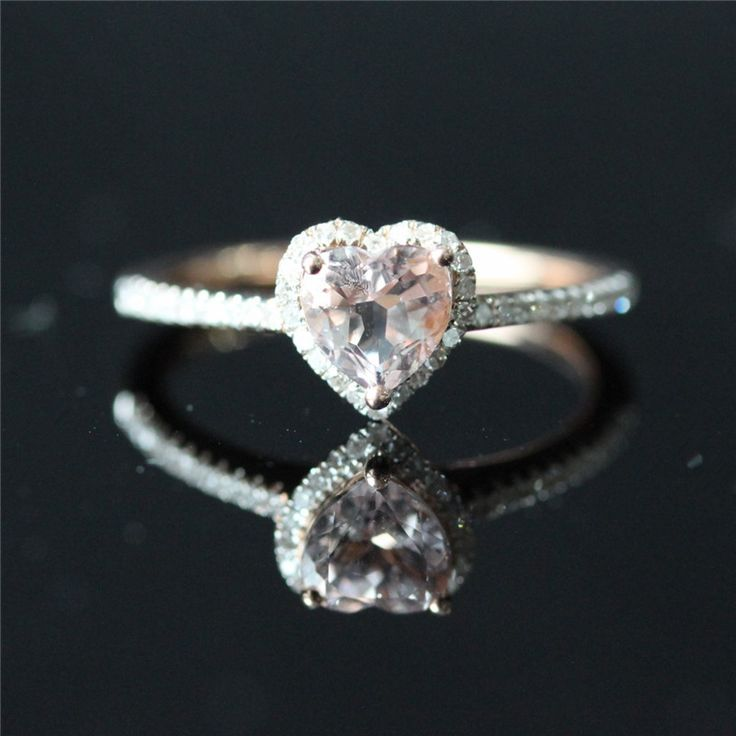 14k Rose Gold Lovely Heart Shaped Morganite Halo Diamond Engagement Ring /Heart Shaped Ring/Morganite Ring/Everyday Ring - Vogue Gem
