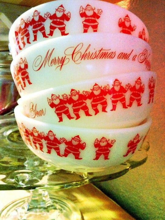 Vintage Fire King Santa Bowls~ I would love to find these under the tree this year!!!!!