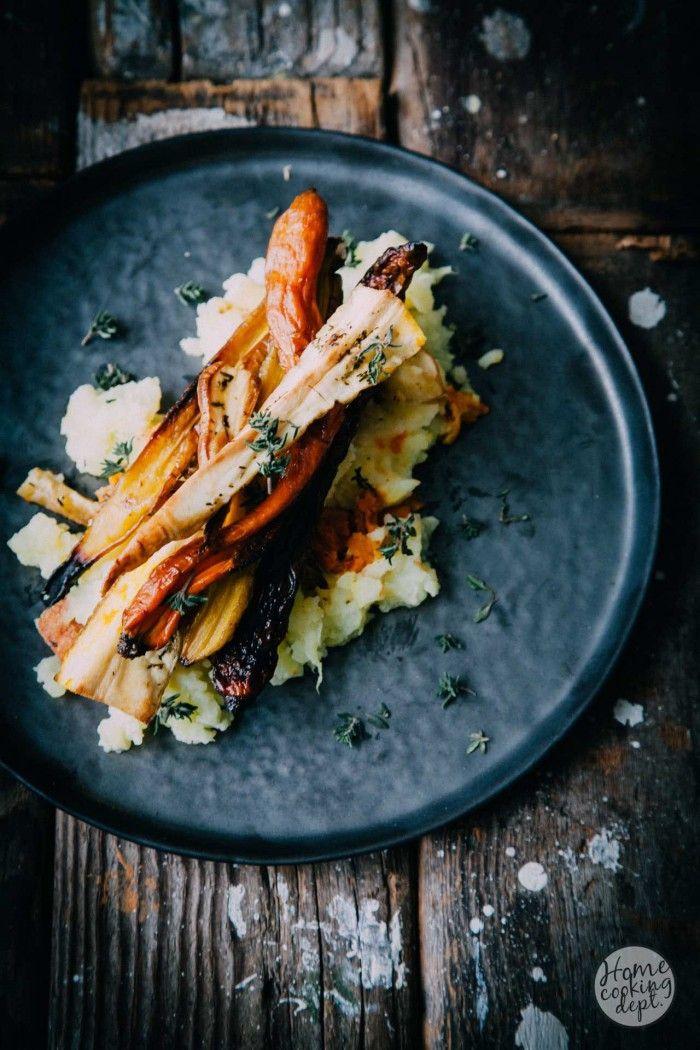 Wortel, pompoen en pastinaak recept: geroosterde groenten stamppot met romige mascarpone aardappelpuree en tijm! Bekijk mijn recept via de bron!