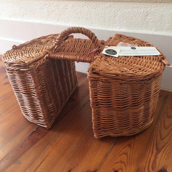 Hand-woven wicker bicycle double basket Lidded wicker by mima26