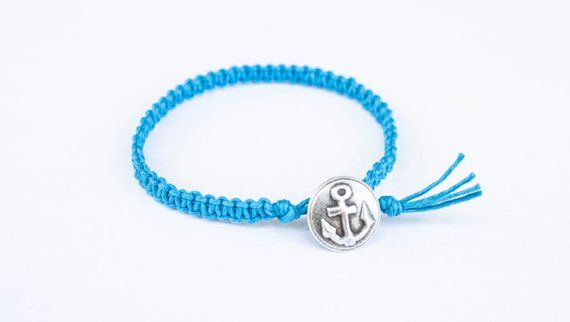 Anchor Bracelet, Anchor Jewelry, Sick or Swim, Button Bracelet, Boyfriend Bracelet, Girlfriend Gift,