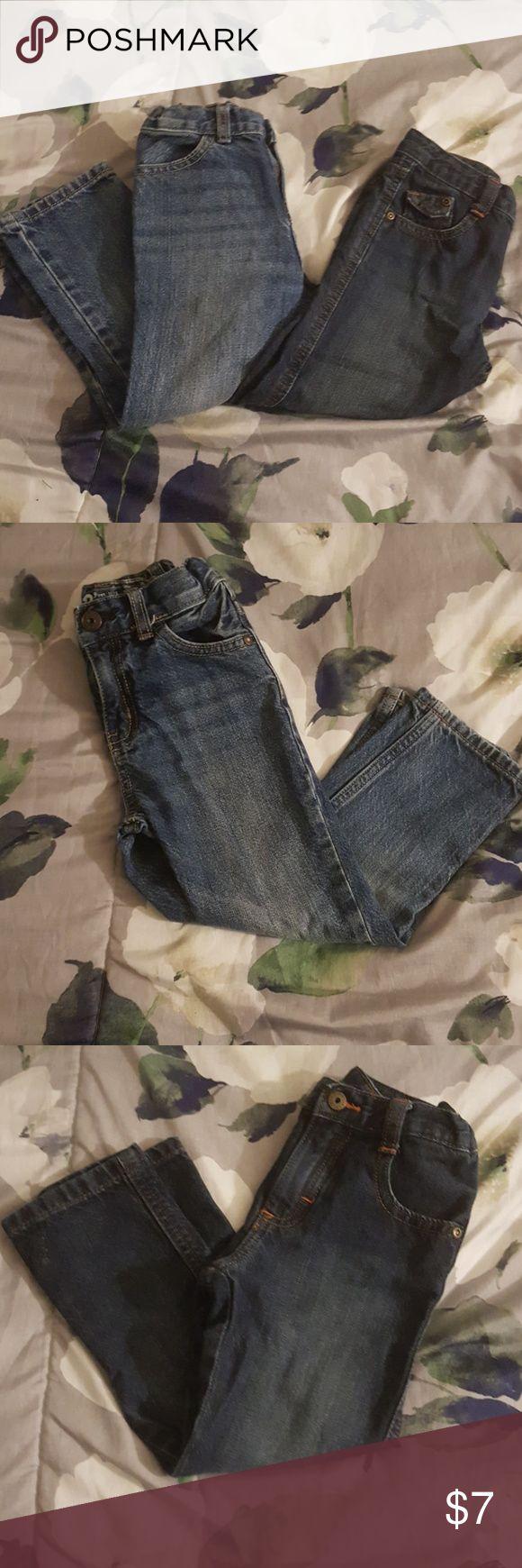 2 Pair of Boy's Denim Jeans Light and Dark denim jeans. Dark denim has Orange stitching. Both jeans have adjustable waist. Bottoms Jeans