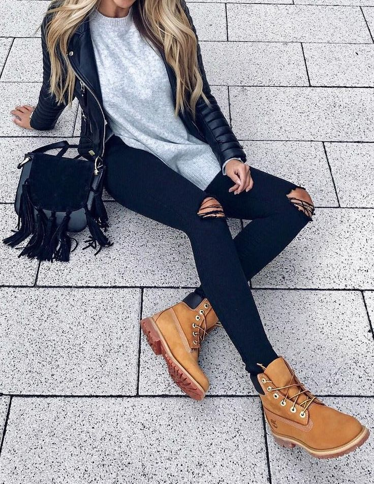#fall #style Leather Jacket // Grey Top // Destroyed Jeans
