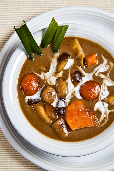 Kolak or Kolek is an Indonesian dessert made with palm sugar and coconut milk, with pandanus leaf for flavour. In some versions, mung beans are also used, and cooked till soft. Banana may be added to this base, the dish then being known as kolek pisang. Pumpkin, sweet potato, jackfruit, plantain and/or cassava, and sometimes pearl tapioca may also be added. It is served either hot or cold. Kolak is popular during the holy month of Ramadan, and is usually served cold during Iftar.