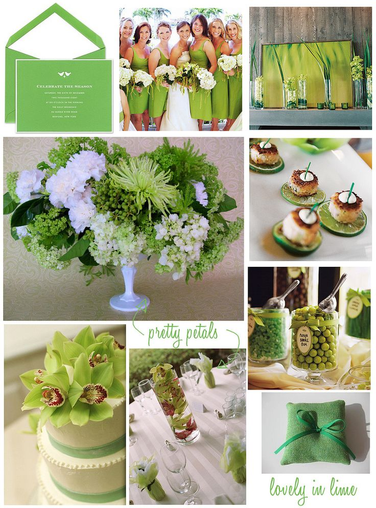 Lime green and white. Lime green bridesmaid dresses