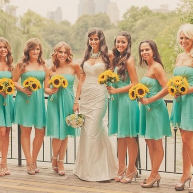 Colourful creative fun central park boathouse wedding for Sunflower dresses for wedding
