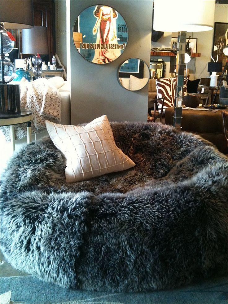 Sheep skin bean bag chair
