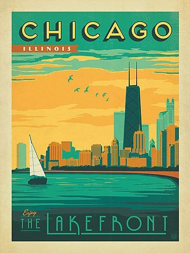 Chicago Gold Coast Poster | Vintage Chicago Posters and Vintage Chicago T Shirts