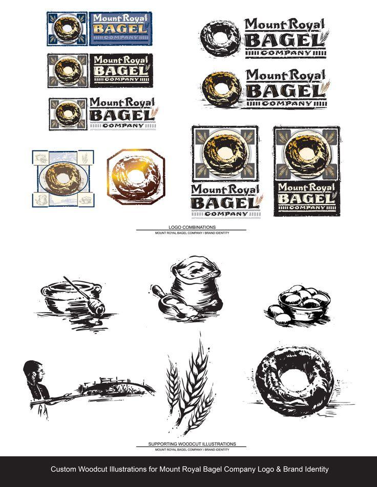 Custom Woodcut Illustrations for Logo Design & Brand Identity for Mount Royal Bagel Company by Kathy Morton Stanion