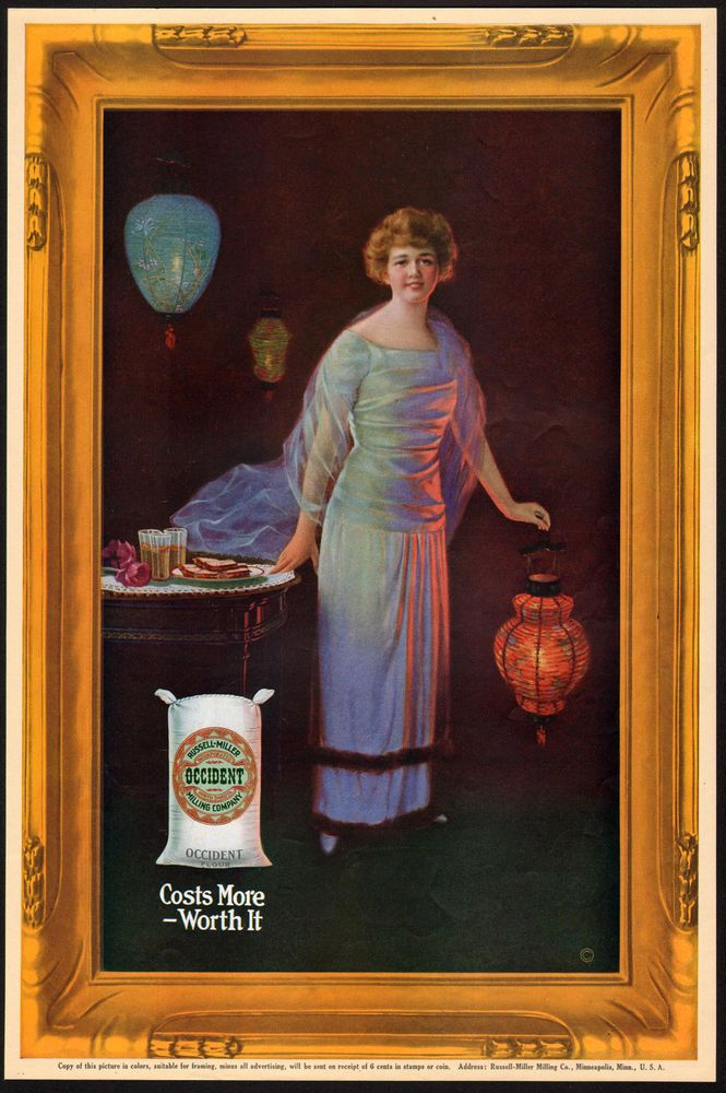 Beautiful Woman with Japanese Paper Lanterns - 1920s Occident Flour Ad - Lovely