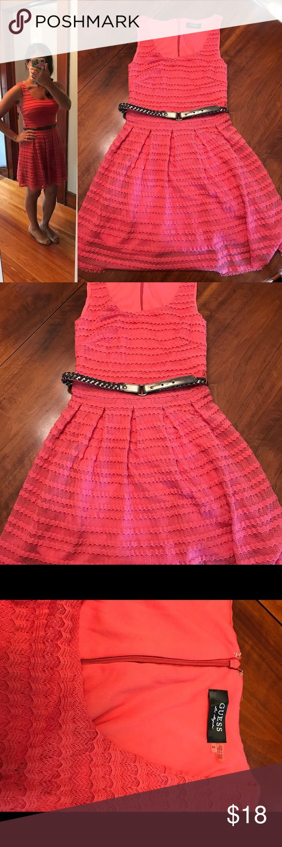 Guess salmon color dress with metallic belt Guess salmon/coral color dress with metallic belt, size 2. Dress is in good condition and very stretchy and comfortable. Zipper back and decorative belt is included. 69% polyester, 30% cotton, 1% spandex. Dry clean. Guess Dresses