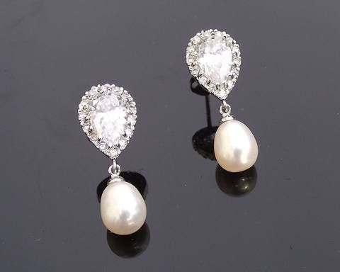 Freshwater Pearl, Sterling Silver & Crystal Earrings, Alisha