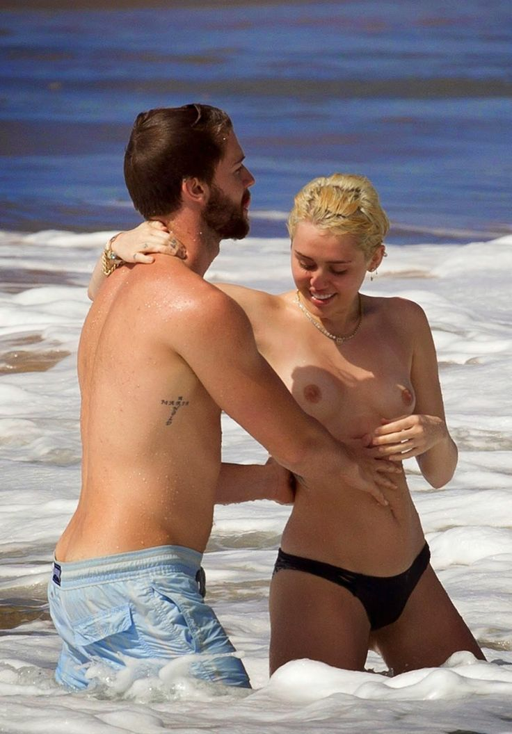 Miley Cyrus Topless On The Beach With Her Boyfriend -6483