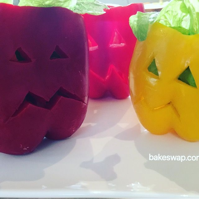 Crazy Capsicums make salads fun at Halloween.  You can even eat the bowl! Use a small paring knife to make triangle cuts for the eyes and a jagged mouth. Stuff with as many vegetables as you can. For more Halloween recipes go to bakeswap.com   We'd love to see your hallowe'en inspired treats so share your pic with the hashtag #spookybakeswapping and don't forget to tag us @bakeswap  #bakeswap  #spookybakeswapping #anyonecanbakeswap