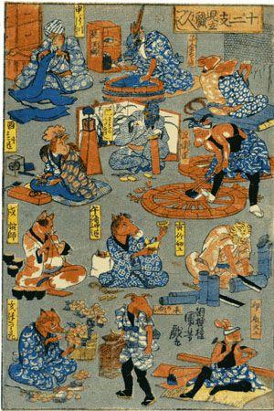 <十二支見立職人づくし : JUNISHI MITATE SYOKUNIN ZUKUSHI> CRAFTSMAN BY THE TWELVE SIGN OF ZODIAC KUNIYOSHI UTAGAWA 1798-1861 Last of Edo Period