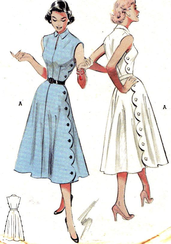 OK, I'm hyperventilating this is so cute! Love love love it! 1950s Butterick 5772 #dress #vintage #pattern