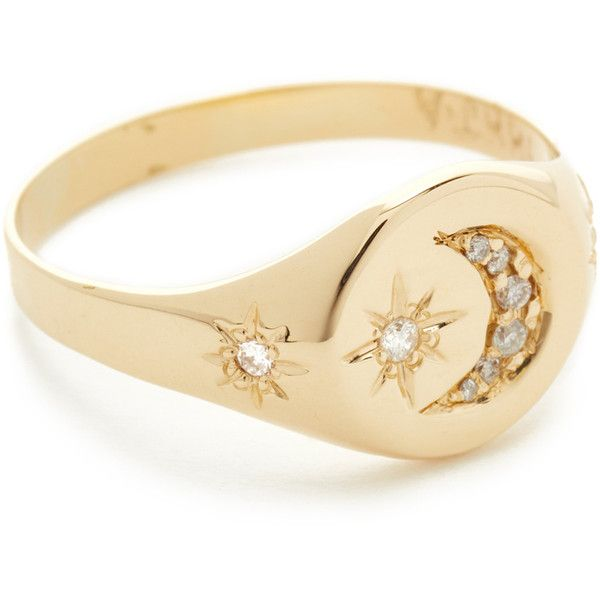 Jacquie Aiche 14k Gold Crescent Star Signet Ring (1 755 AUD) ❤ liked on Polyvore featuring jewelry, rings, gold, pinky ring, 14 karat gold ring, 14k gold jewelry, 14k ring and yellow gold rings