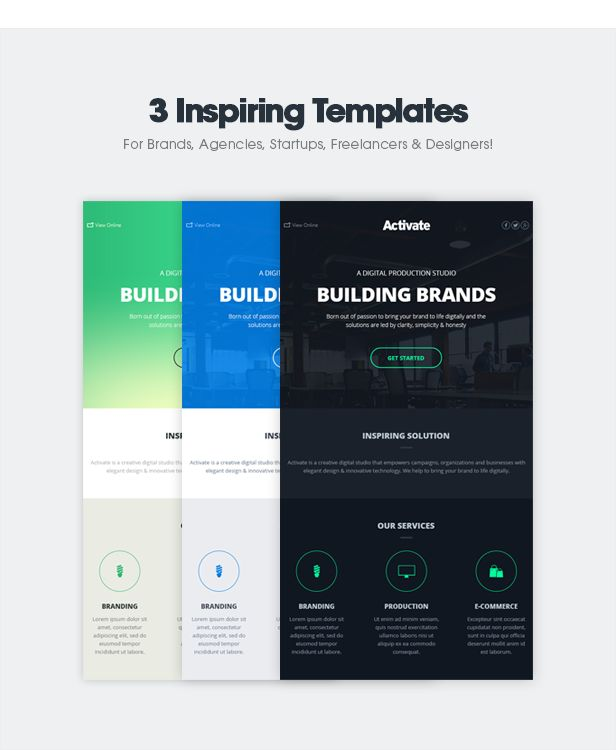 3 Inspiring Email Templates for Brands, Agencies, Startups, Freelancers & Designers!