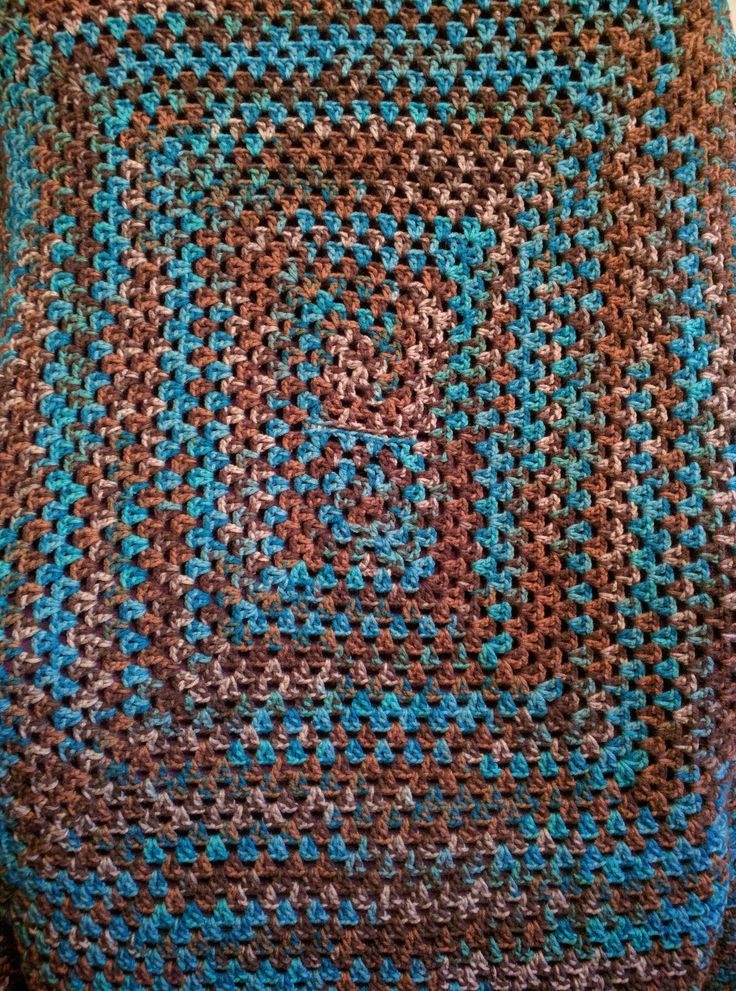 Crocheted afghan, lap blanket, throw, turquoise, green, blue, brown, nature, wood, retro, vintage, hippie, boho, bohemian, decor, dorm, den by KudzuCatCreations on Etsy