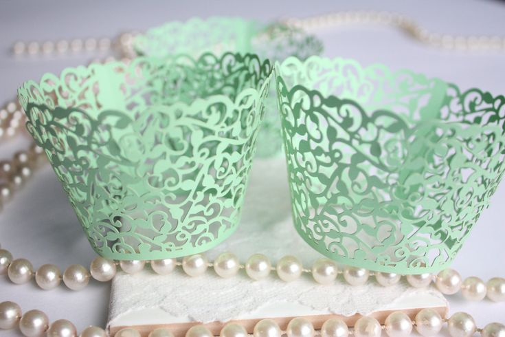 Mint Lace Filigree Cupcake Wrappers Mint Green Laser Cut Elegant Lace Cupcake Wrapper/Liner - Set of 12