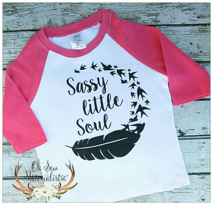 Personalized girl's heat pressed GLITTER vinyl hot pink raglan shirt. Sassy little soul with birds and feathers. by SewMaterialisticLLC on Etsy