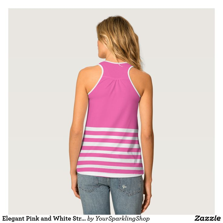 Elegant Pink and White Stripes Pattern  #stripes #striped #top #racerback