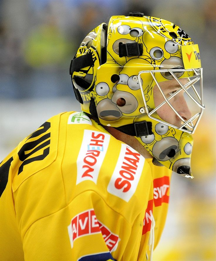 Simpsons style Goalie mask  -   Pavel Francouz  HC Litvinov http://www.eliteprospects.com/player.php?player=18084