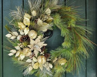 Champagne Toast - Sparkling Pine, Poinsettia and Ornament Wreath, Christmas Wreath, Winter, Winter Wreath, Christmas, Holiday, New Years Eve