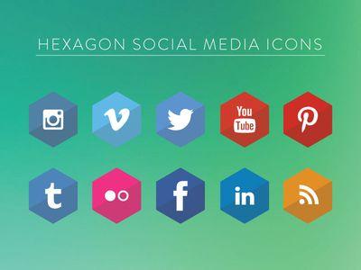» Hexagon Social Media Icons Vector Free PSD,Vector,Icons,Graphics
