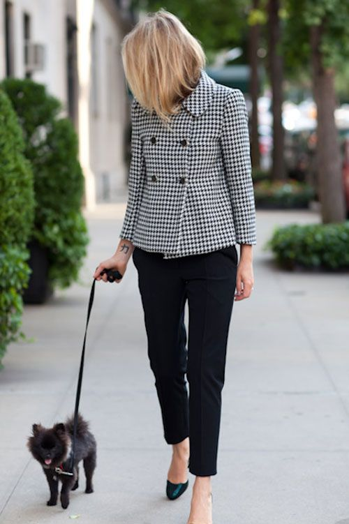 adorable double breasted houndstooth cropped jacket with black ankle pants.  perfect
