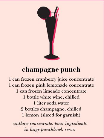 Champagne punch recipe from Kate Spade