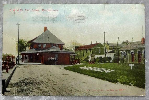 Marion Iowa C.M. St. Paul Train Depot Postcard, Antique 1908, Chicago Milwaukee, #evt, OakwoodView, $4.00