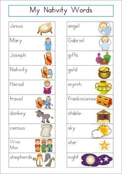 Word Wall - Christmas Nativity Words {36 words} FREE. Includes a personal word wall for students, a file-folder word wall for the writing/word work center and big cards for the classroom wall in color and black and white. ALSO comes with several different word wall worksheets.