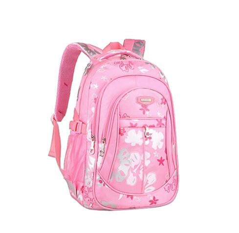 Flower Printed Pink Girl School Backpack
