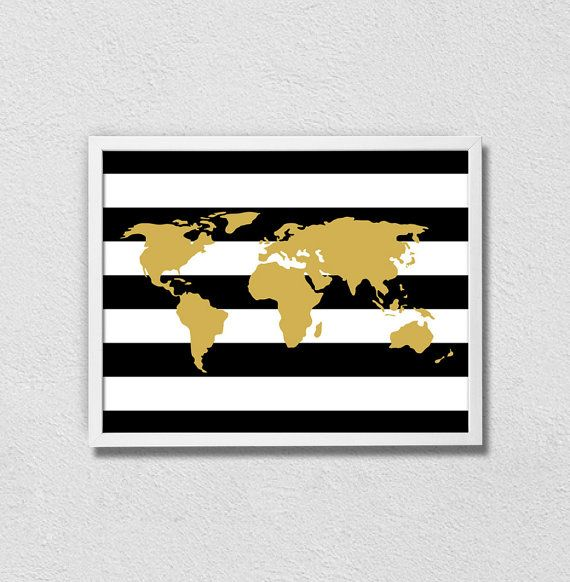 "Black and Gold World Map. Wanderlust and Travel. Modern minimalist Poster. Bedroom Decor. Office Decor. Girly. Stripes. 8.5x11"" Print. on Etsy, $15.00"