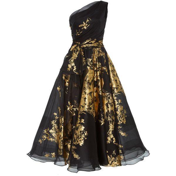 One Shoulder Metallic Foil Dress | Moda Operandi (96.251.225 IDR) ❤ liked on Polyvore featuring dresses, single shoulder dress, one-sleeve dress, a-line dresses, metallic cocktail dress and foil dress