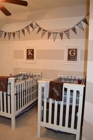 Cute preppy twin boy nursery.  like the stripes and pennant