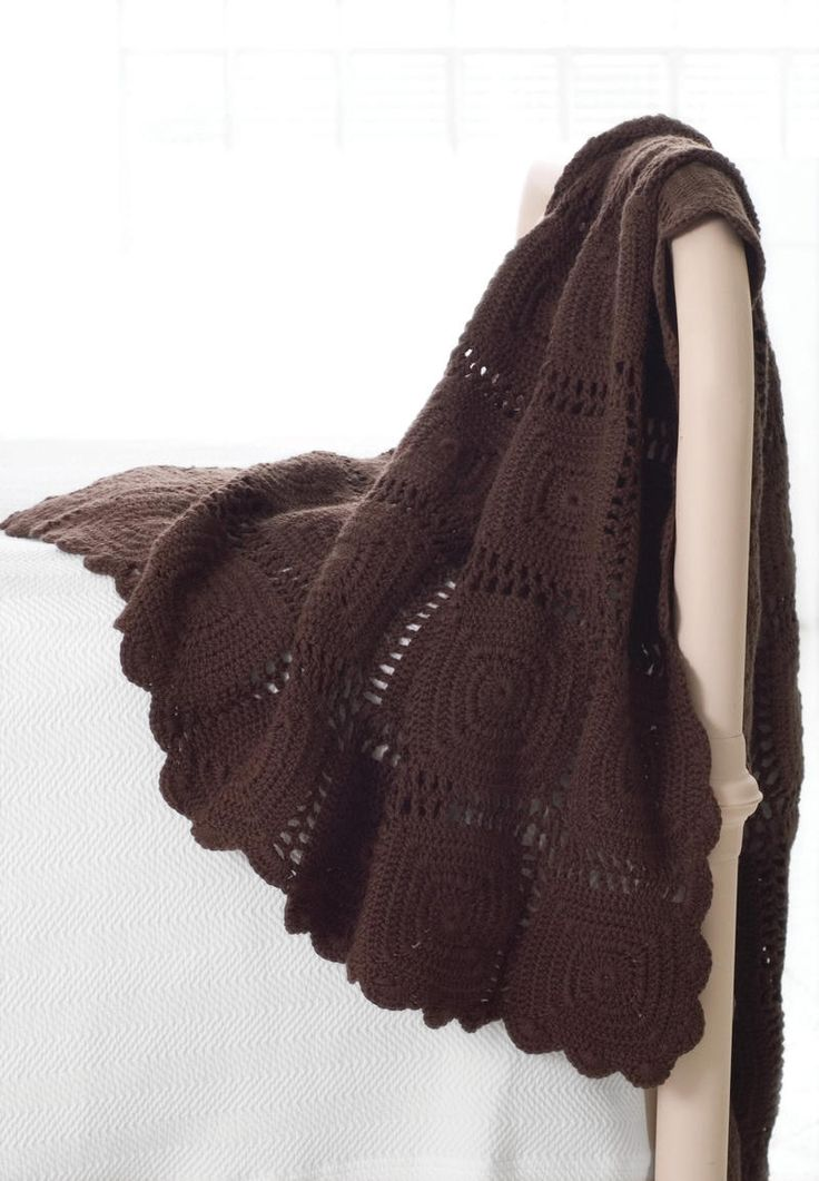 Crochet Wool Chocolate Throw | Pine Cone Hill Outlet