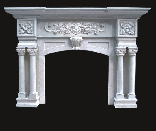 Model 53 Marble Fireplace - White - Columns