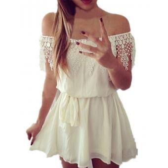 ZANZEA Vestido mini sin mangas gasa sexy - blanco